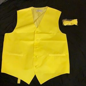 Yellow, dress vest and tie